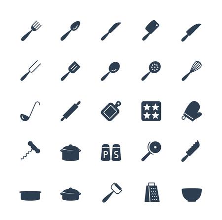 Keukengerei vector pictogrammen instellen in glyph stijl