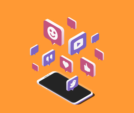 Modern smartphone with cloud of social media speech bubbles over it. Isometric vector illustration Illustration