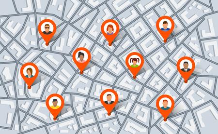 Kołki wskaźnikowe na mapie miasta z ludźmi. Ilustracja wektorowa w stylu płaski