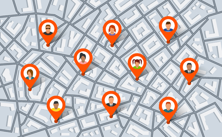 Pointer pins on city map with people. Vector illustration in flat style