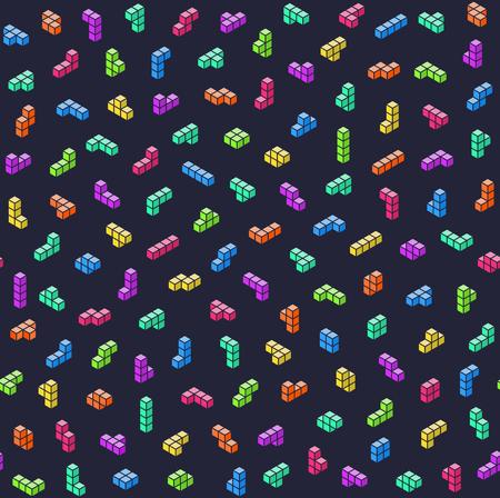 Game bricks colorful seamless pattern Illustration
