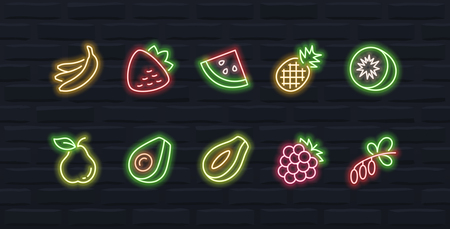 Vector fruits icon set in outline neon style #2