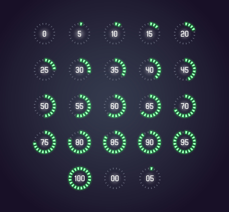 Vector icon set in neon style of loading, buffering, progress wheel in dots