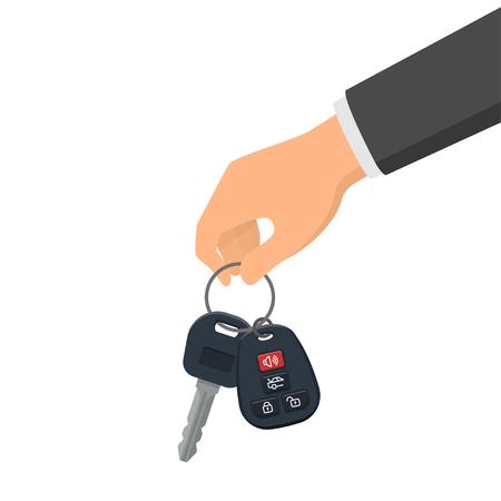 Mano sosteniendo una llave y un llavero. Concepto de comprar o alquilar un auto nuevo. Ilustración de vector de estilo plano
