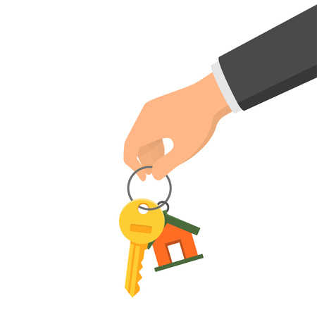 Hand holding a key and a fob. Concept of buying or renting a new house or apartment. Vector illustration in flat style Illustration