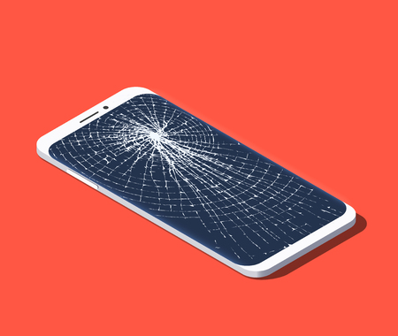 Isometric illustration of broken smartphone with shattered screen