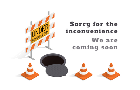 Under construction concept with barricade, manhole and traffic cones over white background. Isometric template with sample text