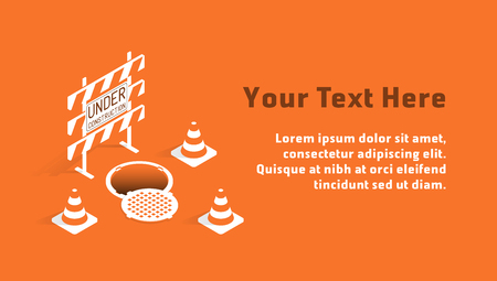 Under construction concept with barricade, manhole and traffic cones in orange and white tones. Isometric template with sample text