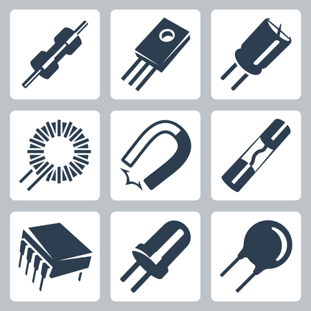 Vector electronic components icons set: resistor, transistor, capacitor, inductance coil, magnet, preventer, microcircuit, diode, varistor