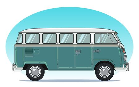 Classic Retro Camper Van, Side View in Colorful Outline Style