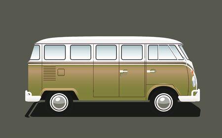 Isolierte klassische Retro Camper Van, Seitenansicht. Vektorillustration
