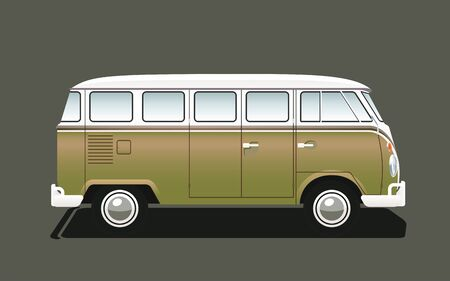 Isolated Classic Retro Camper Van, Side View. Vector Illustration