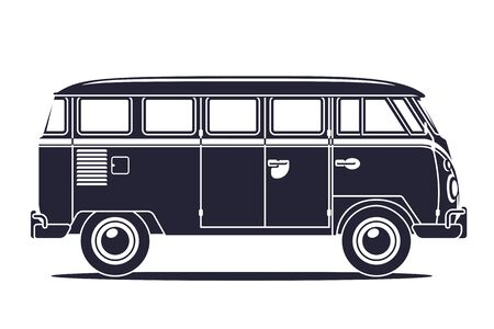 Isolated Silhouette of Classic Retro Camper Van, Side View