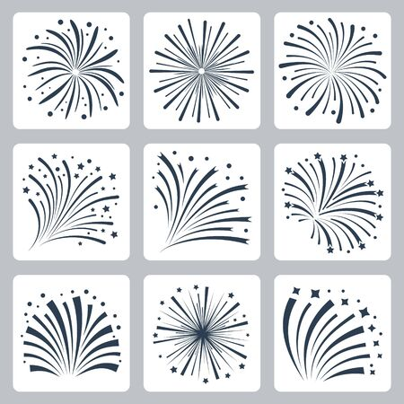 Vector Icon Set of Fireworks Explosion Silhouettes