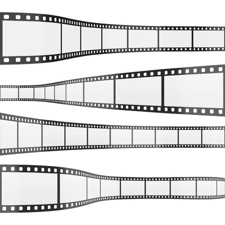 Isolated Horizontal Filmstrips 35mm on White Background