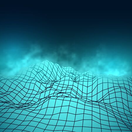 Futuristic abstract vector mesh misty mountains. Cyberspace grid landscape in blue colors