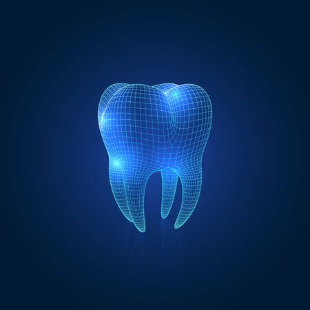 Dark Blue Abstract Vector Wireframe Polygonal Mesh Tooth With Reflection, Three-Quarter Front Angle View
