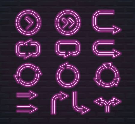 Set of glowing neon shapes of arrows