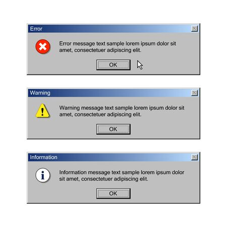 Critical error, warning and information messages. User interface of vintage operation system Stock Illustratie