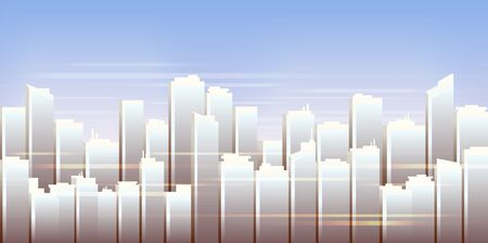 City skyline, urban landscape, daytime cityscape vector illustration