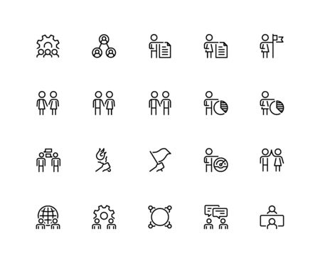 Business People, Communication and Professional Contacts Vector Icon Set in Outline Style