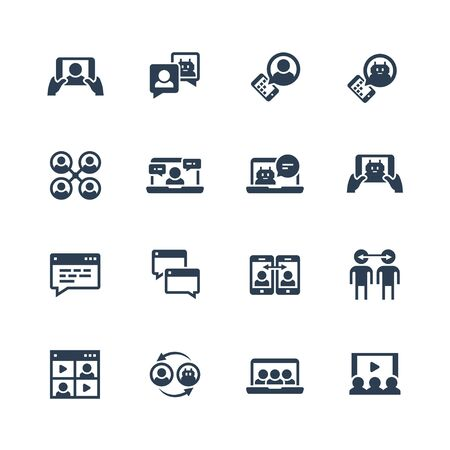 Communication smart technologies vector icon set in glyph style