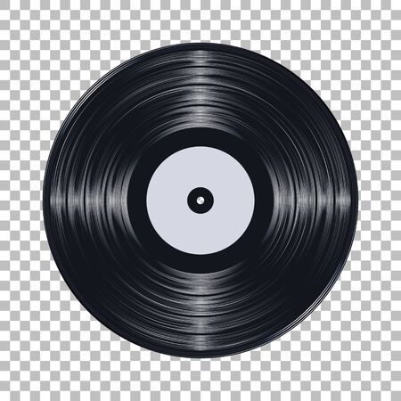 Gramophone black vinyl LP record template isolated on checkered background. Vector illustration Stock fotó - 150401303