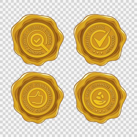 Quality and money back guarantee isolated golden wax seals