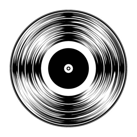 Gramophone Black Vinyl LP Record Silhouette Isolated on White Background. Vector Illustration