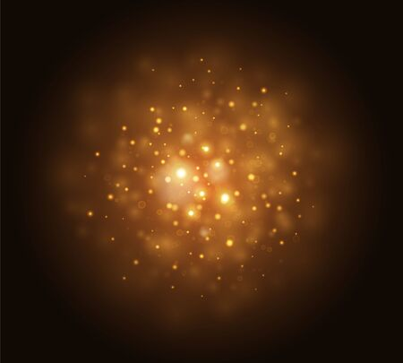 Bokeh effect, golden yellow sparkling light on black background