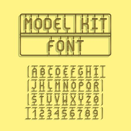 Dark Model Kit Font. Letters and Numbers