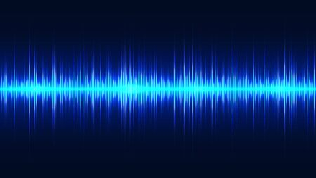 Blue neon sound wave, pulse of audio signal. Abstract spectrum equaliser