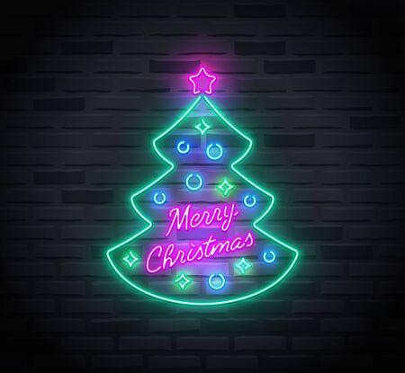 Neon sign of christmas tree and 'Merry Christmas' text inside it Ilustração