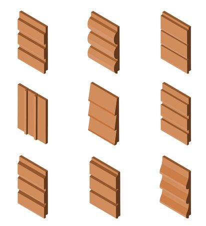 Different Brown Colored Siding Profiles in Isometric View