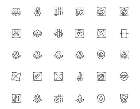 Properties of Fabrics and Clothes Icon Set in Outline Style Vectores