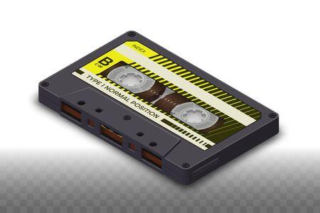 Isometric Realistic Isolated Dark Compact Cassette - 80s Retro