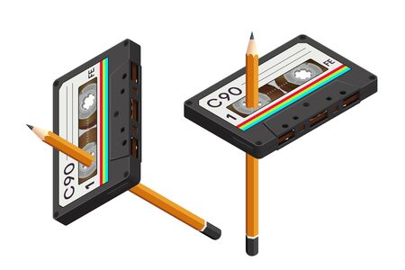 Isometric Isolated Compact Cassette and a Pencil as a Tool for Rewind - 80s Retro