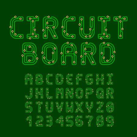 Circuit Board Style Vector Latin Font. Letters and Numbers made of conductive tracks