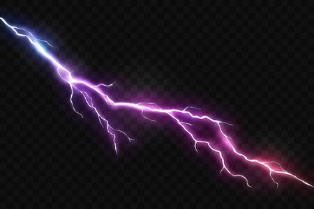 Vector Realistic Lightning and Glowing Thunder Bolt 向量圖像