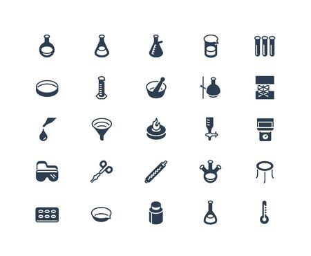 Icon Set of Chemistry Lab Equipment. 48x48 Pixel Perfect