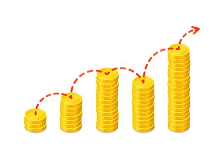 Graph out of columns of gold coins with dashed red arrow. Isometric vector illustration