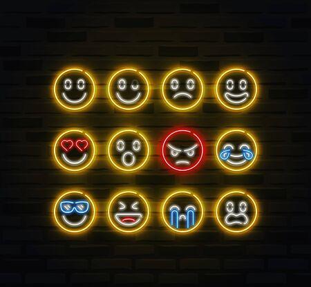 Vector emoji icon set in outline neon style Vettoriali