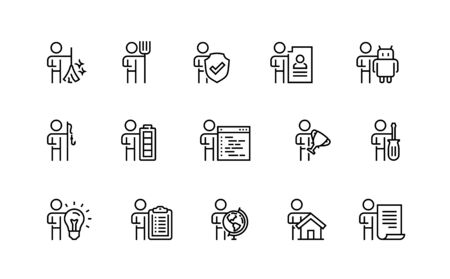 People and Professions, Activities, Occupation Vector Icon Set in Outline Style Illusztráció