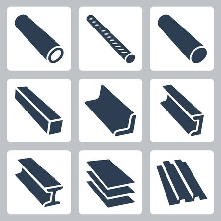 Rolled Metal Products Vector Icon Set in Glyph Style