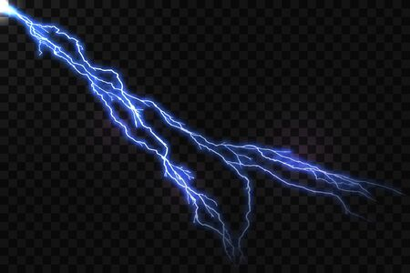 Vector Realistic Blue Lightning and Glowing Thunder Bolt