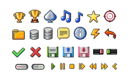 Pixel Art Style Icons Collection on White Background