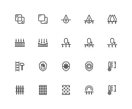 Material properties vector icon set in thin line style. Pixel perfect, 48x48 grid Vectores