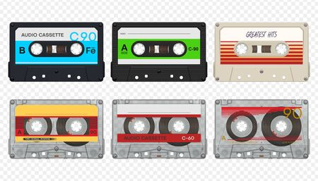 Vector isolated compact audio tape cassettes collection 1
