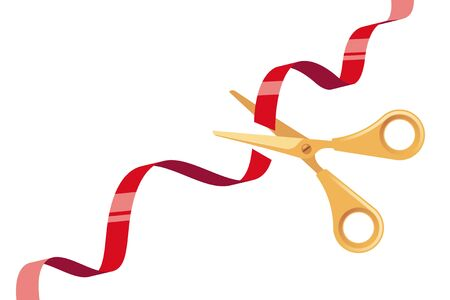 Cut Red Ribbon and Golden Scissors over White Background Illustration