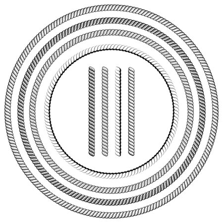 Nautical Ropes Vector Brushes With Ends Over White Vetores
